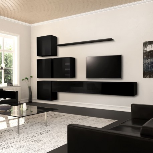 Parete soggiorno moderna in legno nero o bianco lucido Keira
