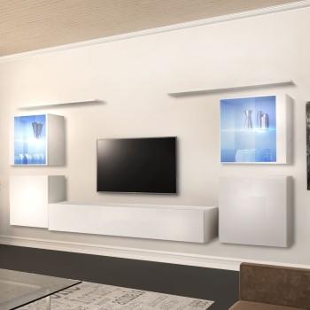 Parete attrezzata TV per soggiorni moderni legno bianco o nero Madisyn