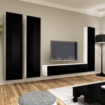 Parete attrezzata per soggiorno con base e 3 pensili in legno Braden