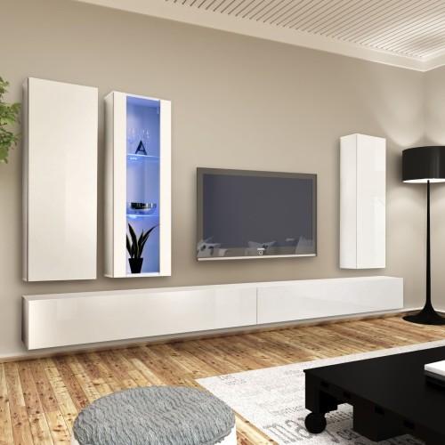 Parete attrezzata moderna per soggiorno bianca e nera Alexus