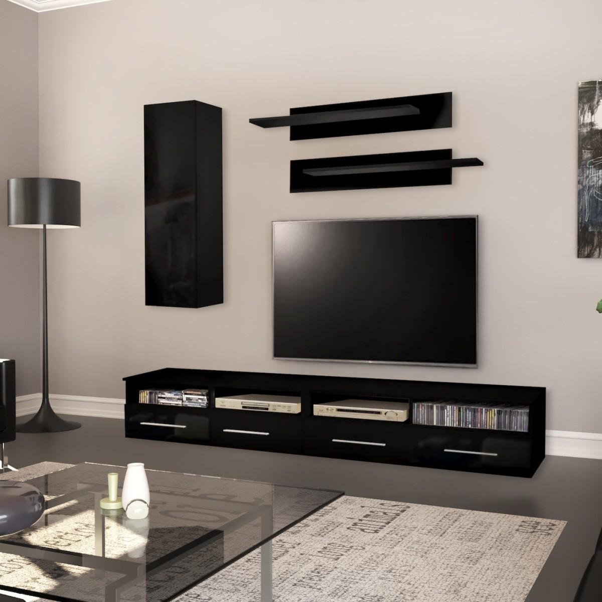 Parete soggiorno moderna in legno bianco o nero Maybelle