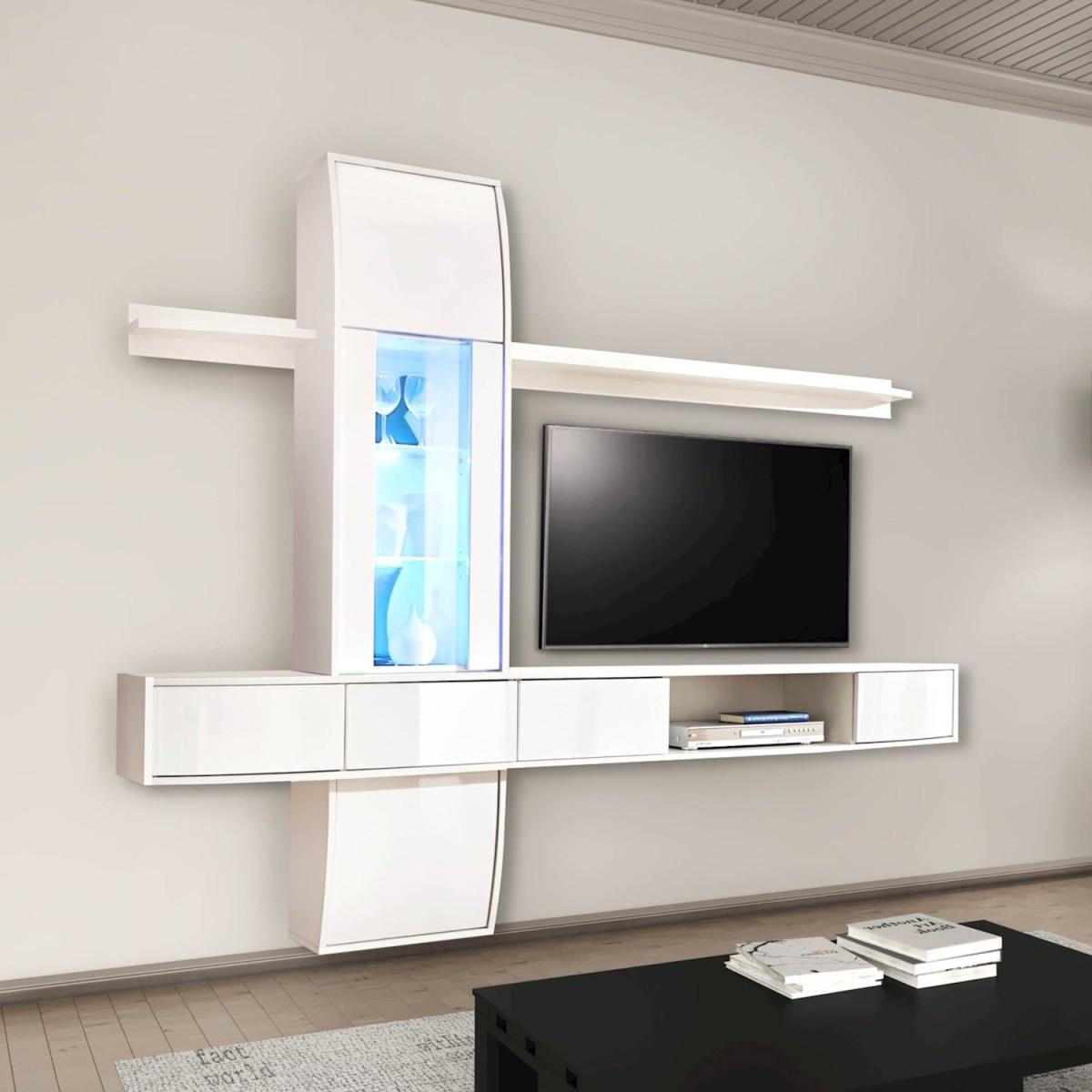 Parete attrezzata tv design moderno in legno delores for Parete attrezzata design moderno