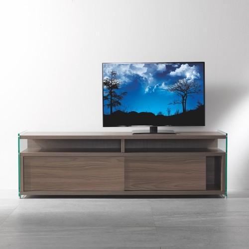 Mobiletto per televisore in legno e vetro 140 cm Media