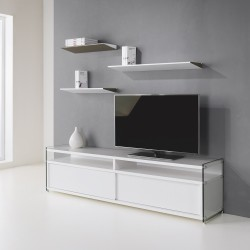Mobile porta TV moderno design in legno e vetro 180 cm Media