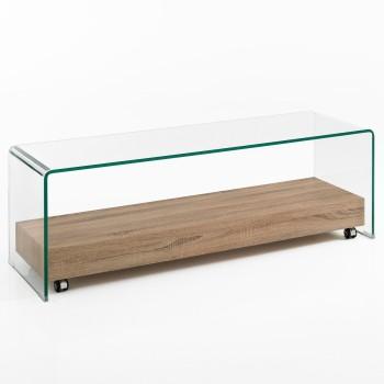 Porta TV moderno in vetro e legno Wellioak