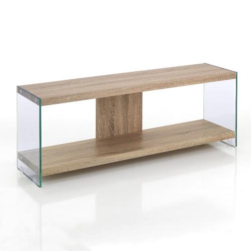 Porta televisore moderno in vetro e legno Asenzio
