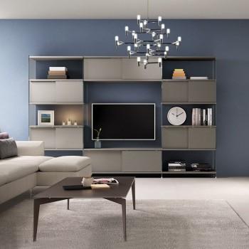 Parete attrezzata design moderno in vetro e laminato Byblos7