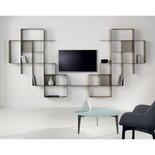 Parete attrezzata design moderno in acciaio Mondrian