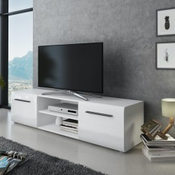 Mobile TV in legno bianco opaco/lucido 160 cm Gillian