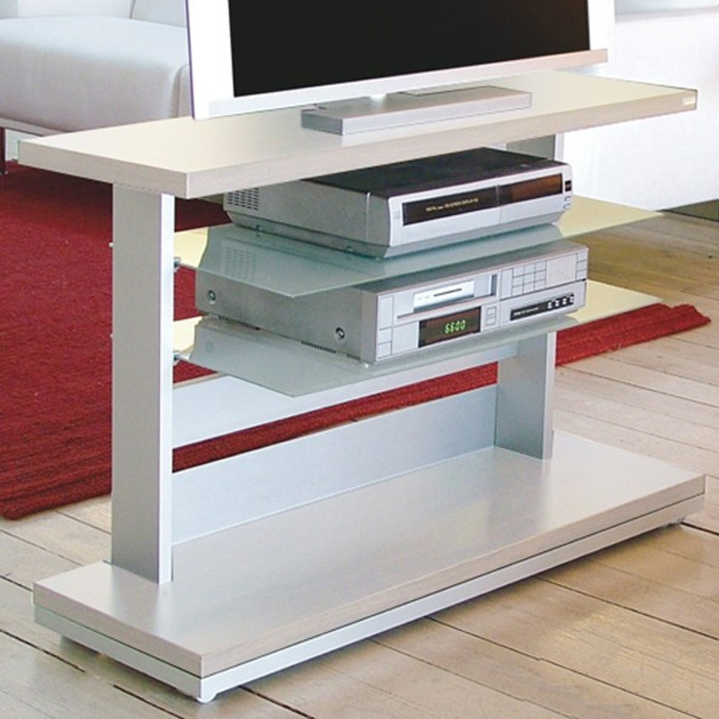 Planet 100/60 silver mobile TV con rotelle alluminio melaminico vetro