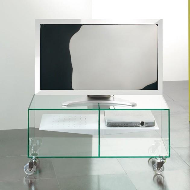 Carrello porta TV in vetro E-box