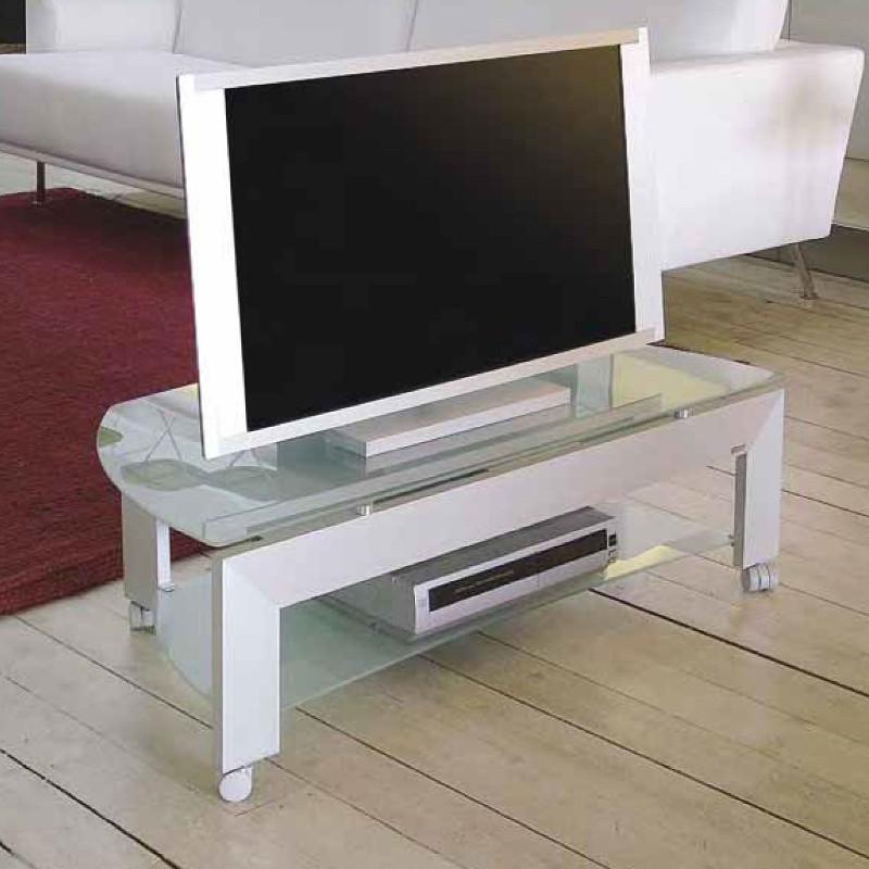 Quadro 100/33 carrello per tv alluminio e cristallo 100x51x33