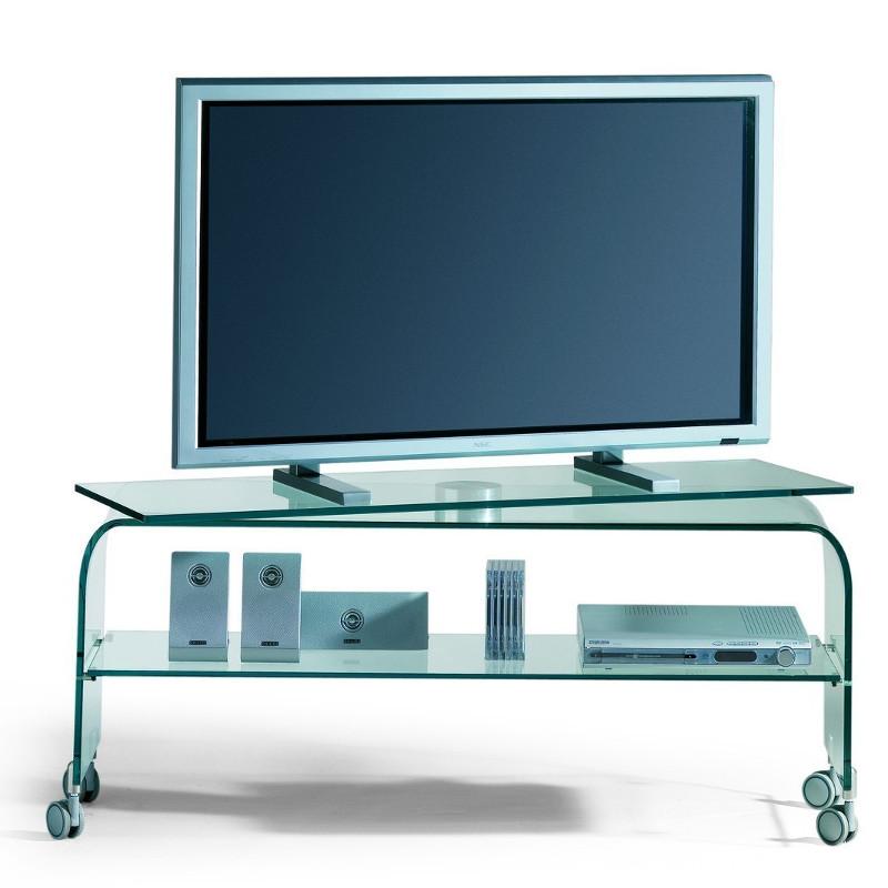 Reflex porta TV mobile in cristallo curvato con base rotante