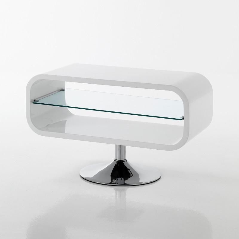Mobile porta TV Sibilla in legno MDF bianco lucido 80 cm